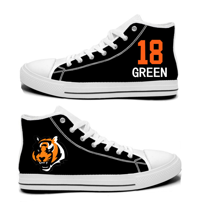 NFL Cincinnati Bengals 18# A.J. Green black Hand Painted Unisex Custom Centre-TOP Canvas Shoes