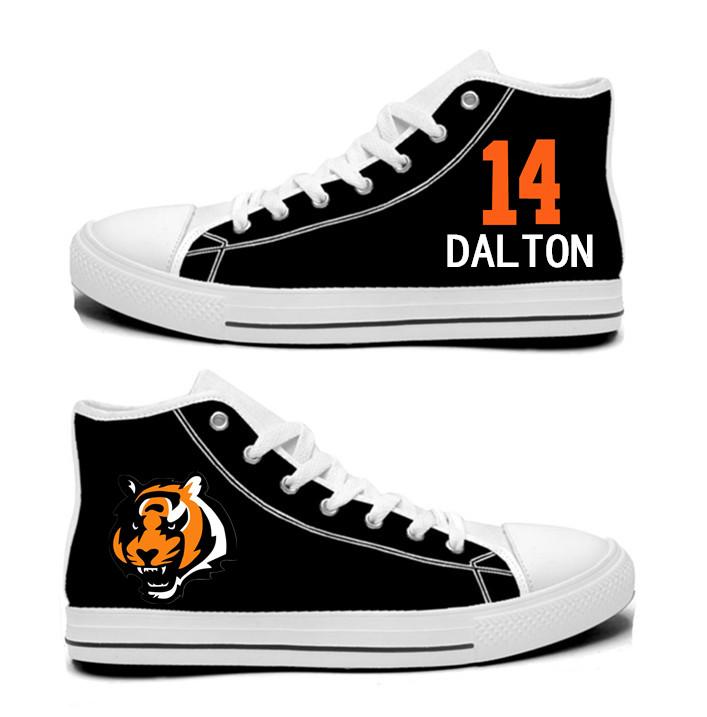 NFL Cincinnati Bengals 14# Andy Dalton black Hand Painted Unisex Custom Centre-TOP Canvas Shoes
