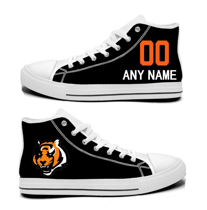 NFL Cincinnati Bengals black Hand Painted Unisex Custom Centre-TOP Canvas Shoes