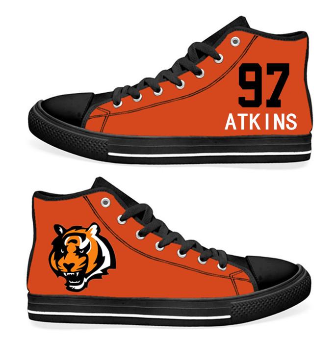 NFL Cincinnati Bengals 97# Geno Atkins  Orange Hand Painted Unisex Custom Centre-TOP Canvas Shoes