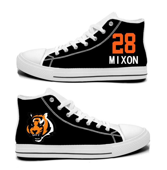 NFL Cincinnati Bengals 28# Joe Mixon  black Hand Painted Unisex Custom Centre-TOP Canvas Shoes