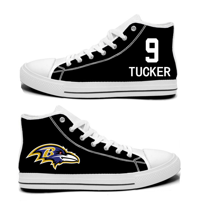 NFL Baltimore Ravens 9# Justin Tucker black Hand Painted Unisex Custom Centre-TOP Canvas Shoes
