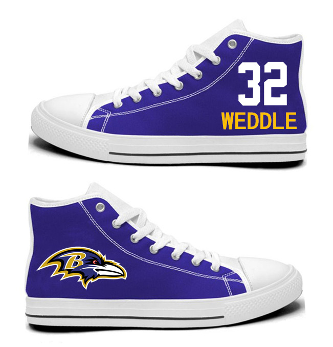NFL Baltimore Ravens 32# Eric Weddle  Purple Hand Painted Unisex Custom Centre-TOP Canvas Shoes