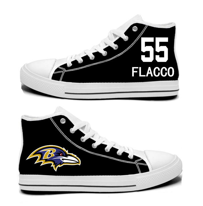 NFL Baltimore Ravens 55# Terrell Suggs black Hand Painted Unisex Custom Centre-TOP Canvas Shoes