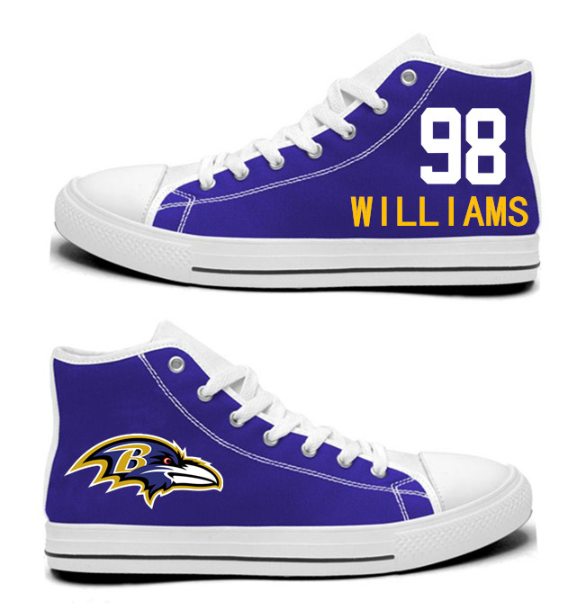 NFL Baltimore Ravens 98# Brandon Williams Purple Hand Painted Unisex Custom Centre-TOP Canvas Shoes