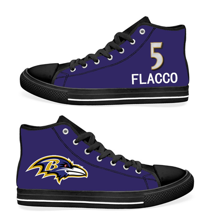 NFL Baltimore Ravens 5#  Joe Flacco black Purple Hand Painted Unisex Custom Centre-TOP Canvas Shoes