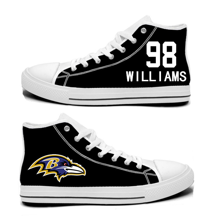 NFL Baltimore Ravens 98# Brandon Williams black Hand Painted Unisex Custom Centre-TOP Canvas Shoes