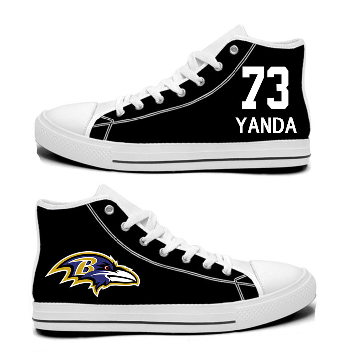NFL Baltimore Ravens 73#  Marshal Yanda  black Hand Painted Unisex Custom Centre-TOP Canvas Shoes