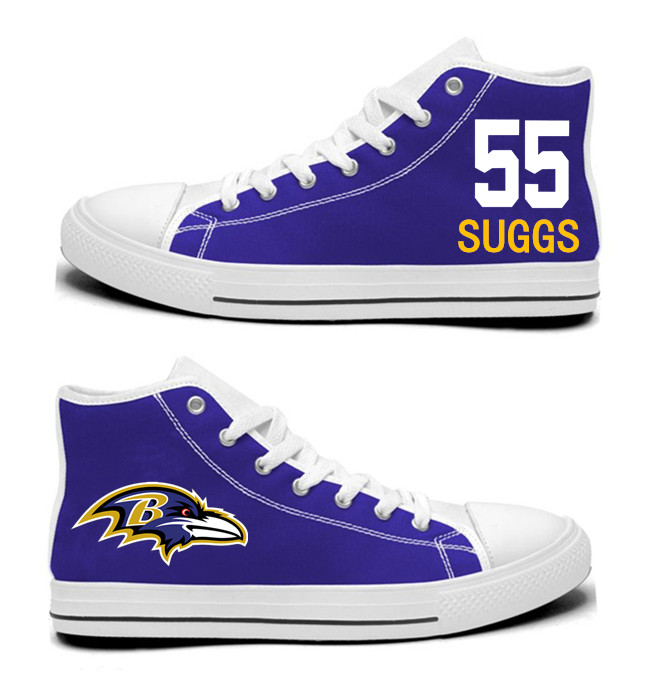 NFL Baltimore Ravens 55# Terrell Suggs Purple Hand Painted Unisex Custom Centre-TOP Canvas Shoes