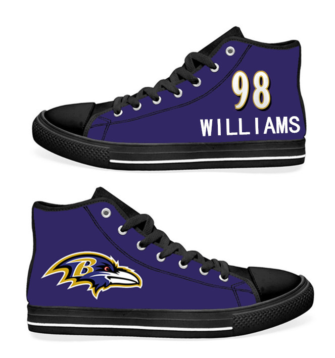 NFL Baltimore Ravens 98# Brandon Williams black Purple Hand Painted Unisex Custom Centre-TOP Canvas Shoes
