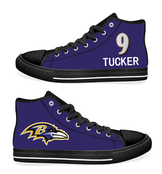 NFL Baltimore Ravens 9# Justin Tucker black Purple Hand Painted Unisex Custom Centre-TOP Canvas Shoes