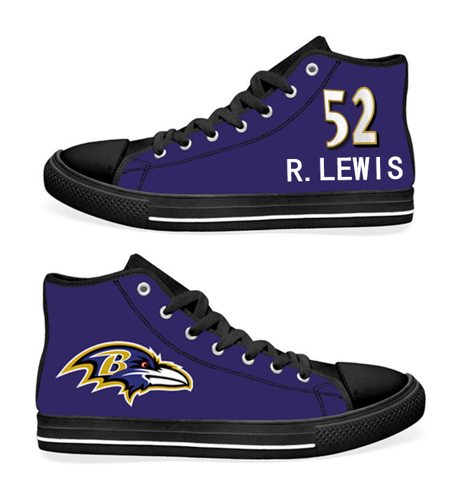 NFL Baltimore Ravens 52#  Ray Lewis black Purple Hand Painted Unisex Custom Centre-TOP Canvas Shoes