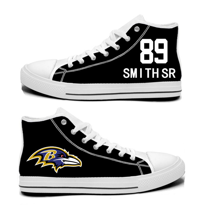 NFL Baltimore Ravens 89#  Steve Smith Sr  black Hand Painted Unisex Custom Centre-TOP Canvas Shoes