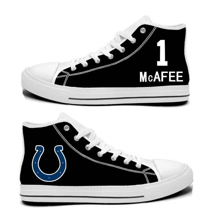 NFL Indianapolis Colts 1#  Pat McAfee  black Hand Painted Unisex Custom Centre-TOP Canvas Shoes