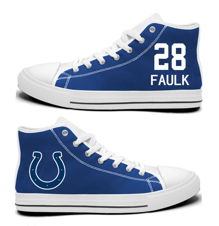 NFL Indianapolis Colts 28#  Marshall Faulk Royal Blue Hand Painted Unisex Custom Centre-TOP Canvas Shoes
