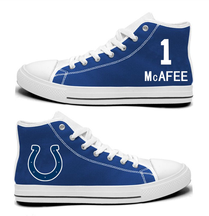 NFL Indianapolis Colts 1#  Pat McAfee  Royal Blue Hand Painted Unisex Custom Centre-TOP Canvas Shoes