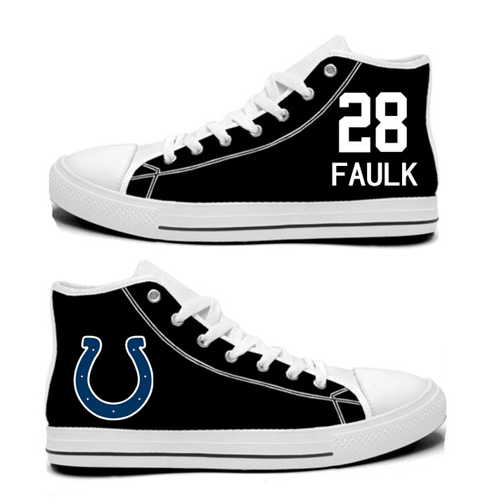 NFL Indianapolis Colts 28#  Marshall Faulk black Hand Painted Unisex Custom Centre-TOP Canvas Shoes
