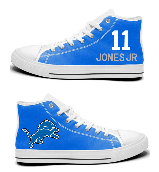 NFL  Detroit Lions 11#  Marvin Jones Jr Blue   Hand Painted Unisex Custom Centre-TOP Canvas Shoes