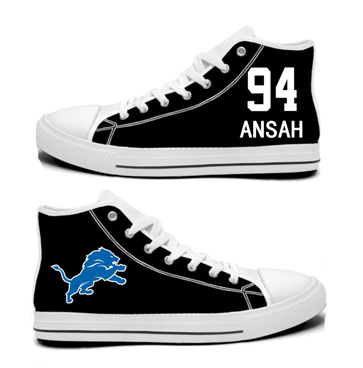 NFL  Detroit Lions 94#  Ziggy Ansah black Hand Painted Unisex Custom Centre-TOP Canvas Shoes