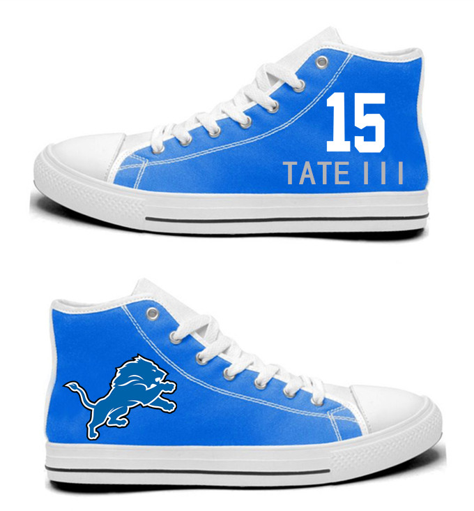 NFL  Detroit Lions 15#  Golden Tate   blue  Hand Painted Unisex Custom Centre-TOP Canvas Shoes
