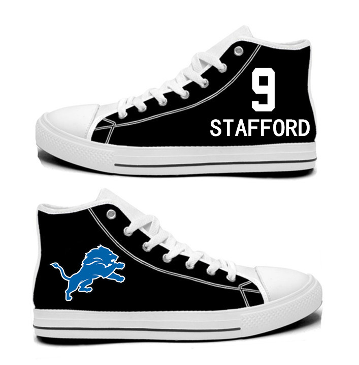 NFL  Detroit Lions 9#  Matthew Stafford  black  Hand Painted Unisex Custom Centre-TOP Canvas Shoes