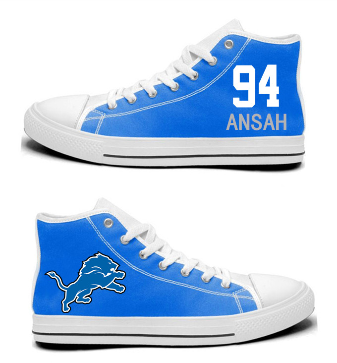 NFL  Detroit Lions 94#  Ziggy Ansah  blue  Hand Painted Unisex Custom Centre-TOP Canvas Shoes