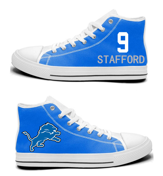 NFL  Detroit Lions 9#  Matthew Stafford  Blue  Hand Painted Unisex Custom Centre-TOP Canvas Shoes