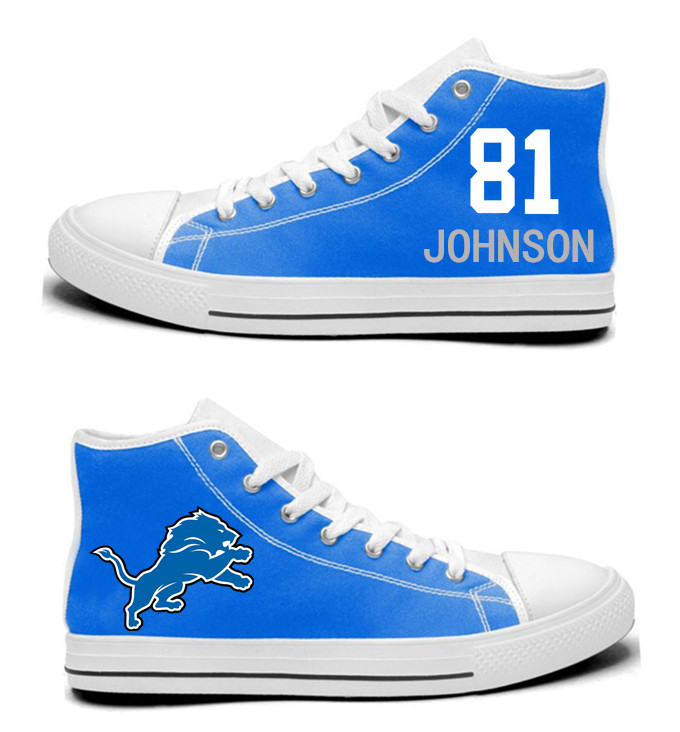NFL  Detroit Lions 81#  Calvin Johnson blue  Hand Painted Unisex Custom Centre-TOP Canvas Shoes