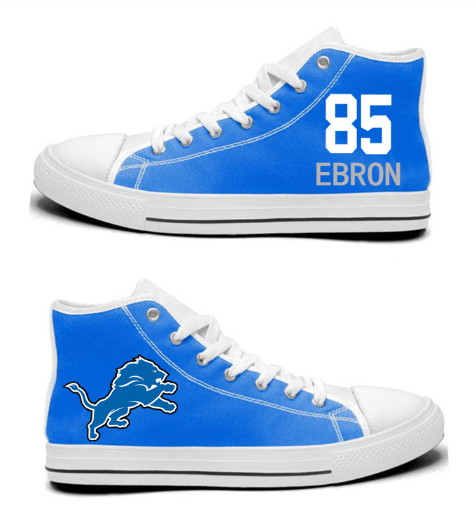 NFL  Detroit Lions 85#  Eric Ebron  Blue   Hand Painted Unisex Custom Centre-TOP Canvas Shoes