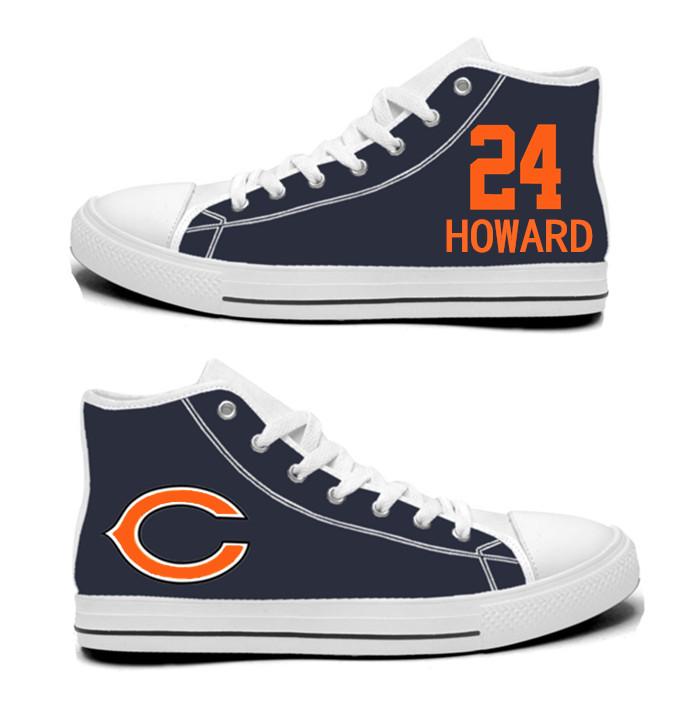 NFL Chicago Bears 24# Jordan Howard Navy Hand Painted Unisex Custom Centre-TOP Canvas Shoes
