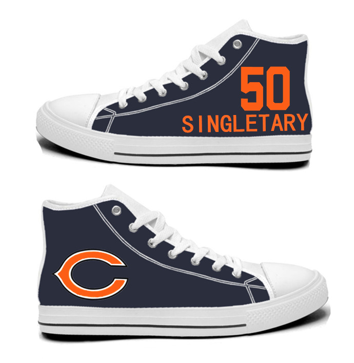 NFL Chicago Bears 50# Mike Singletary Navy Hand Painted Unisex Custom Centre-TOP Canvas Shoes
