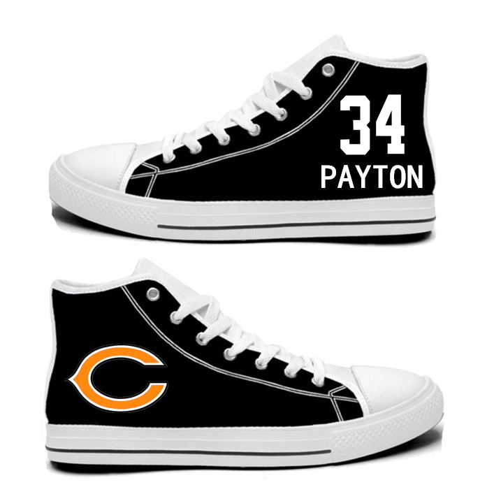 NFL Chicago Bears 34# Walter Payton black Hand Painted Unisex Custom Centre-TOP Canvas Shoes