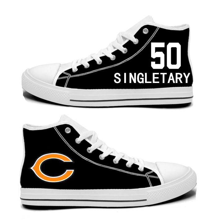 NFL Chicago Bears 50# Mike Singletary black Hand Painted Unisex Custom Centre-TOP Canvas Shoes