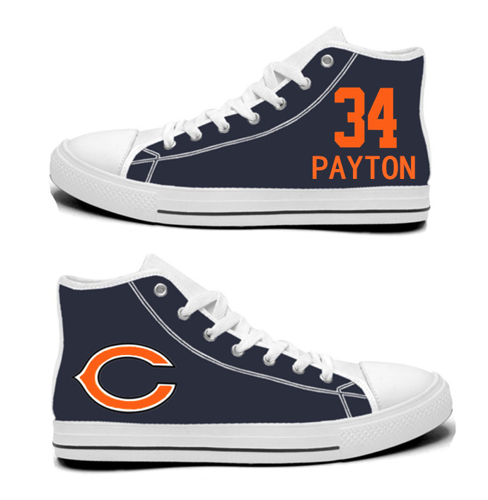 NFL Chicago Bears 34# Walter Payton Navy Hand Painted Unisex Custom Centre-TOP Canvas Shoes