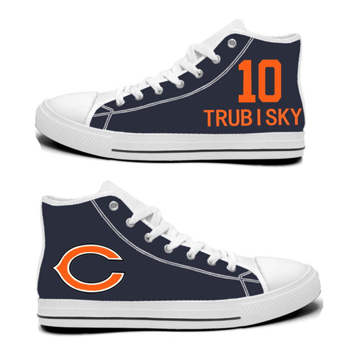 NFL Chicago Bears 10#  Mitchell Trubisky Navy Hand Painted Unisex Custom Centre-TOP Canvas Shoes