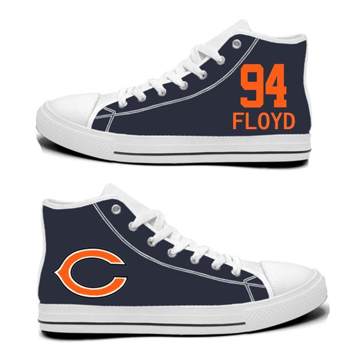 NFL Chicago Bears 94# Leonard Floyd Navy Hand Painted Unisex Custom Centre-TOP Canvas Shoes