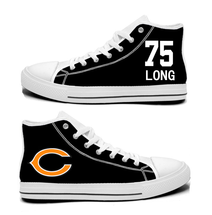 NFL Chicago Bears 75#  Kyle Long  black Hand Painted Unisex Custom Centre-TOP Canvas Shoes