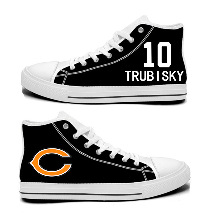 NFL Chicago Bears 10#  Mitchell Trubisky black Hand Painted Unisex Custom Centre-TOP Canvas Shoes