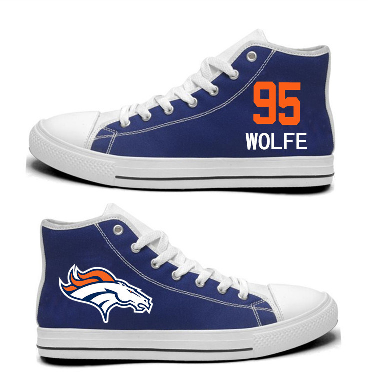 NFL  Denver Broncos 95# Derek Wolfe Navy Blue  Hand Painted Unisex Custom Centre-TOP Canvas Shoes