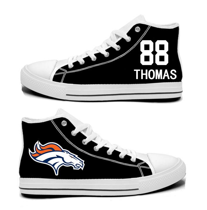 NFL  Denver Broncos 88#   Demaryius Thomas  black Hand Painted Unisex Custom Centre-TOP Canvas Shoes
