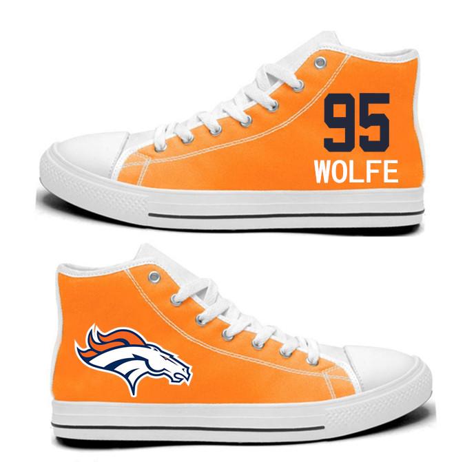 NFL  Denver Broncos 95# Derek Wolfe orange Hand Painted Unisex Custom Centre-TOP Canvas Shoes