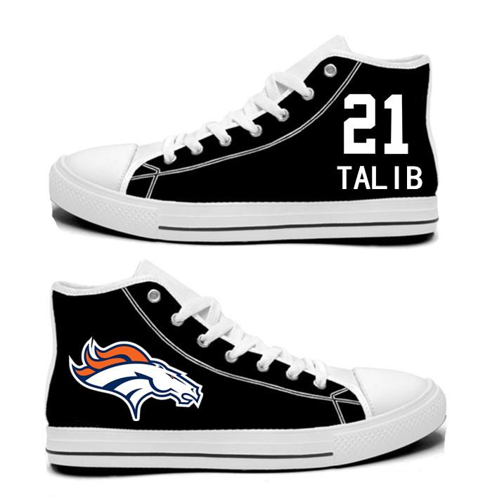 NFL  Denver Broncos 21#   Aqib Talib black  Hand Painted Unisex Custom Centre-TOP Canvas Shoes