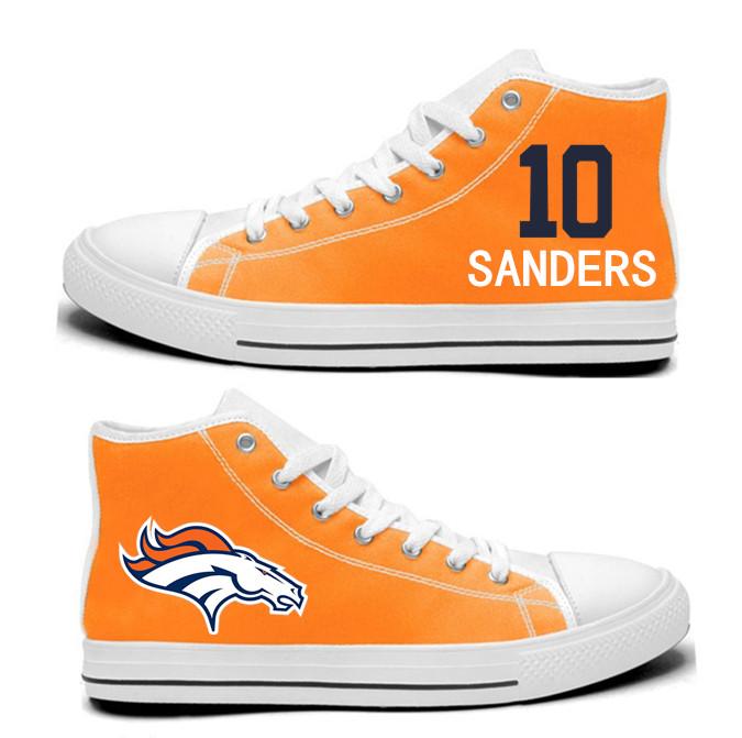 NFL  Denver Broncos 10#   Emmanuel Sanders  orange Hand Painted Unisex Custom Centre-TOP Canvas Shoes