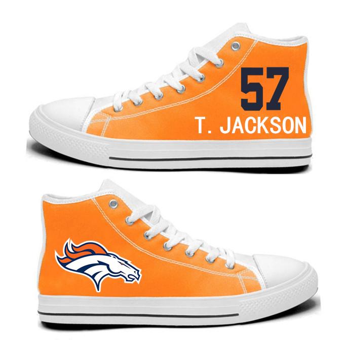 NFL  Denver Broncos 57#   Tom Jackson orange Hand Painted Unisex Custom Centre-TOP Canvas Shoes