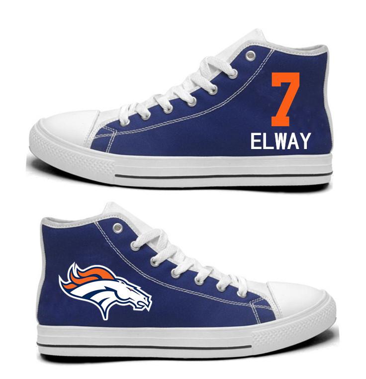 NFL  Denver Broncos 7# John Elway Navy Blue  Hand Painted Unisex Custom Centre-TOP Canvas Shoes