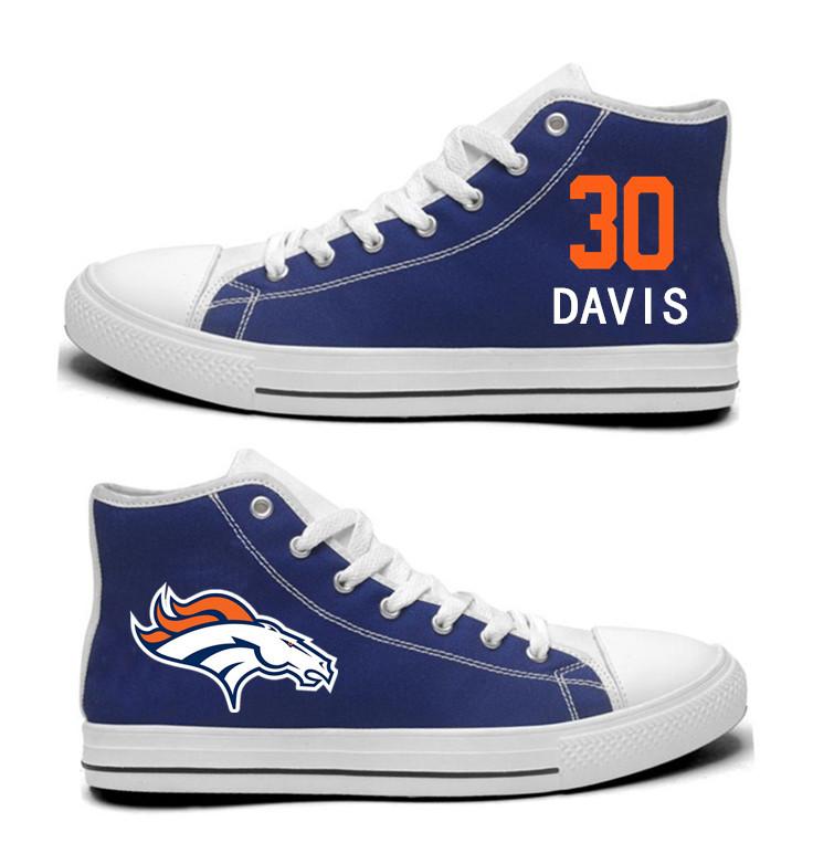 NFL  Denver Broncos 30#  Terrell Davis Navy Blue  Hand Painted Unisex Custom Centre-TOP Canvas Shoes