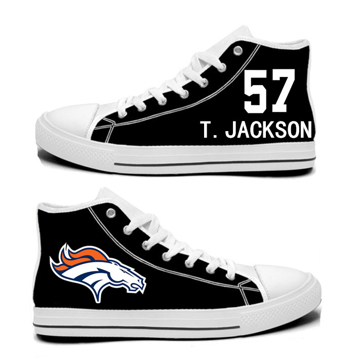 NFL  Denver Broncos 57#   Tom Jackson black Hand Painted Unisex Custom Centre-TOP Canvas Shoes