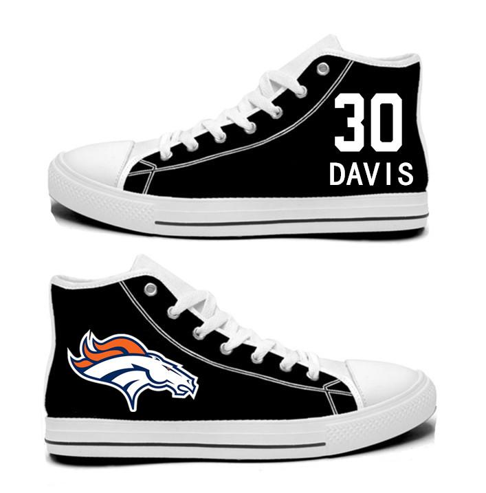 NFL  Denver Broncos 30#  Terrell Davis black  Hand Painted Unisex Custom Centre-TOP Canvas Shoes