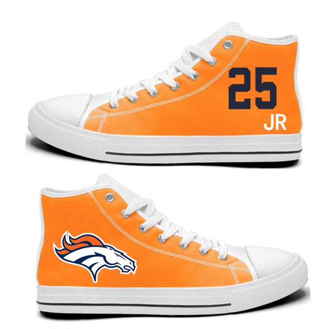 NFL  Denver Broncos 25# Chris Harris Jr  orange Hand Painted Unisex Custom Centre-TOP Canvas Shoes