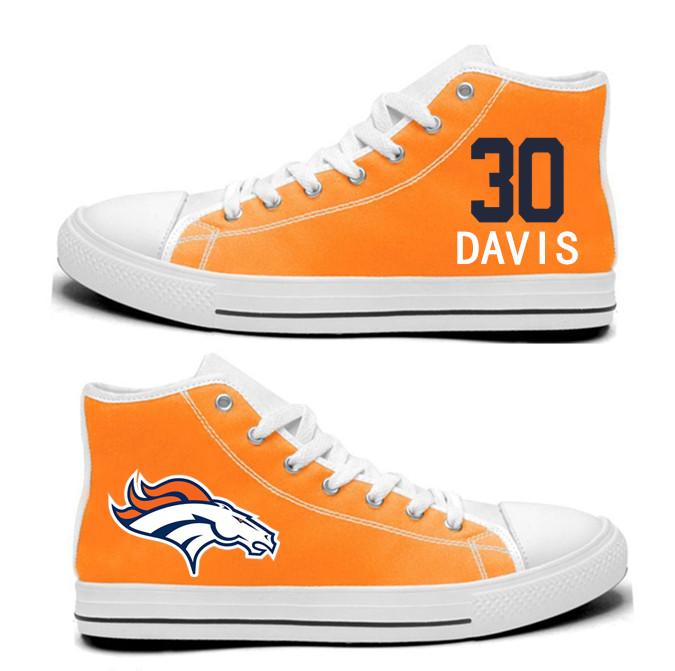 NFL  Denver Broncos 30#  Terrell Davis orange  Hand Painted Unisex Custom Centre-TOP Canvas Shoes